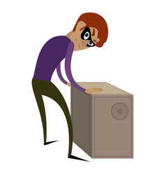 Burglar check metal safe icon cartoon style vector