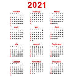 Calendar new year 2021 vector