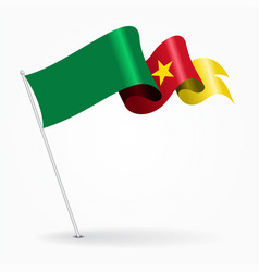 Cameroon pin wavy flag vector