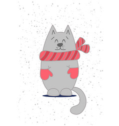 card template with cute cat vector image