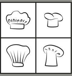 chef hats monochrome minimalistic sketches set vector image