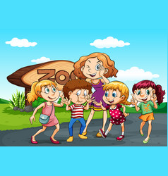 children visit zoo at day time vector image