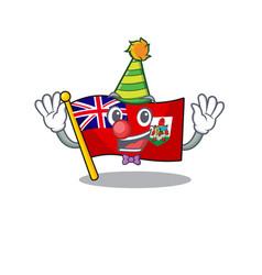 Clown flag bermuda cartoon on pole vector