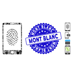 Collage smartphone fingerprint icon with textured vector