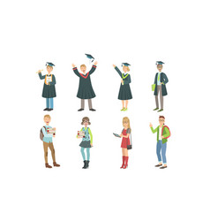 college or university students set graduated vector image