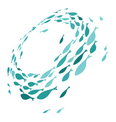 Colored silhouettes school fish a group of vector