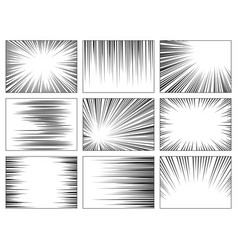 Comic book speed lines set explosion effect vector