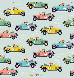 cute car race seamless pattern vector image