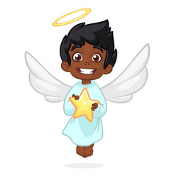 cute cartoon angel holding a star vector image