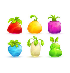 cute cartoon bright colorful fantasy fruits and vector image