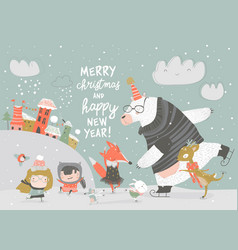Cute children skating with bear deer and fox vector