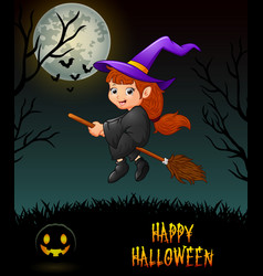 cute little witch flying riding on broom in night vector image