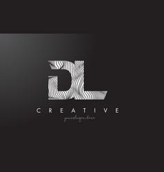Dl d l letter logo with zebra lines texture vector