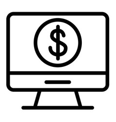 dollar sign on monitor line icon computer with vector image