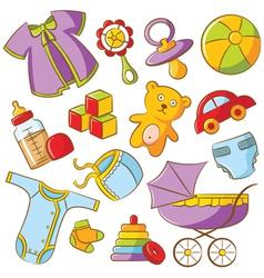 doodle baby icon set vector image