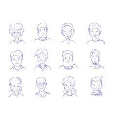 Doodle human heads hand drawn adult portraits vector