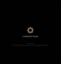 elegant golden mandala flower pattern logo design vector image