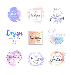 Fashion luxury boutique logo design set colorful vector