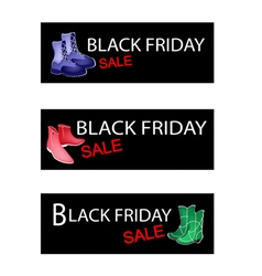 Fashionable Shoes on Three Black Friday Banner vector image