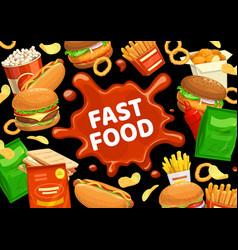 fast food burgers menu hamburgers snacks drinks vector image