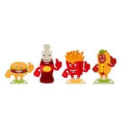 fast food cartoon set vector image
