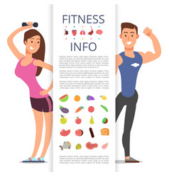 fitness banner flyer template sports cartoon vector image