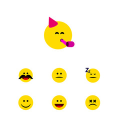Flat icon emoji set of party time emoticon asleep vector