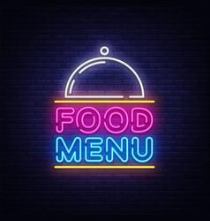 food menu neon sign restaurant menu neon vector image