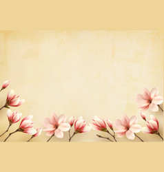 frame made out of magnolia flowers vector image