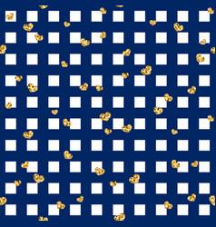 Gold heart seamless pattern blue-white geometric vector