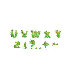 green leaves font stylish vector image