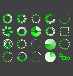 Green loading sign icon set for internet upload vector