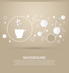 green tea icon on a brown background with elegant vector image