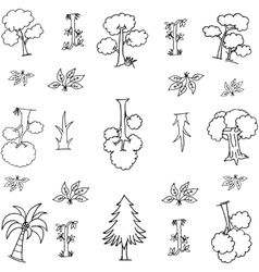 Hand draw tree on doodles vector