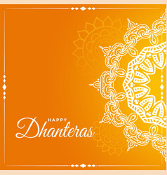 Happy dhanteras indian style festival greeting vector