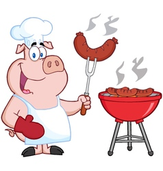 Happy Pig Chef Cook At Barbecue vector