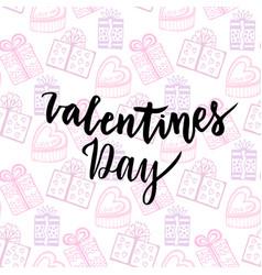 happy valentines day card handwritten design vector image