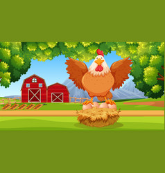 Hen at the farmland vector