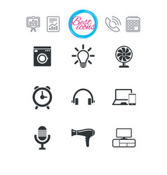 Home appliances device icons ventilator sign vector