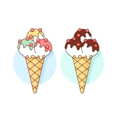 Icon ice cream different pastel color in line vector image