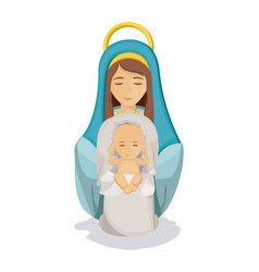 Isolated mary and baby jesus design vector