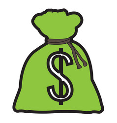 isolated money bag vector image