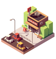 Isometric gun shop vector
