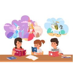 kids read fairy tales cartoon children dream vector image