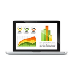 Laptop with statistics chart vector