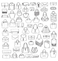 Large set of black and white doddle fashion vector