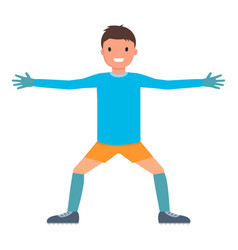 Lateral hands goalkeeper icon flat style vector