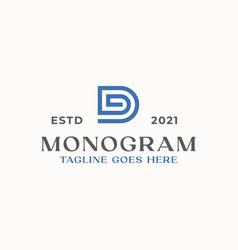 letter d monogram logo template in isolated white vector image