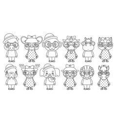 lineart cute animal boy girl cubs mascot cartoon vector image