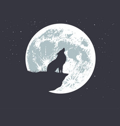 Lonely wolf howling to full moon vector